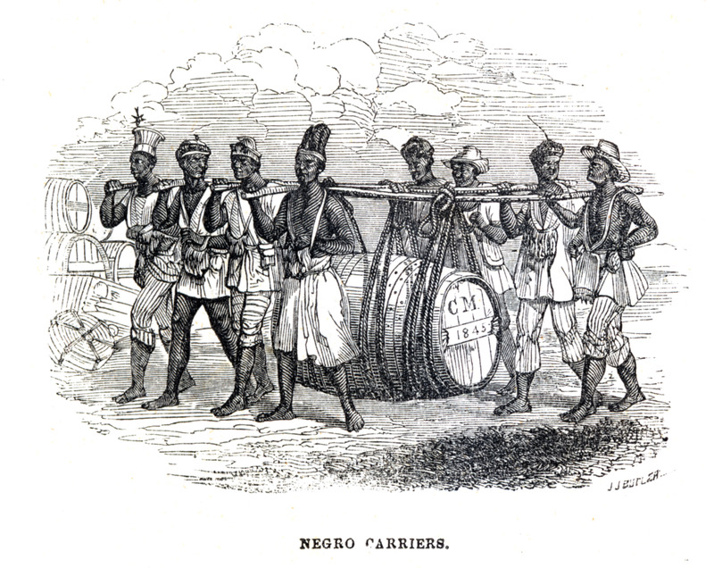 A group of eight men, carrying a large hogshead of sugar suspended from poles by ropes. Burdens are . . . more frequently carried upon the shoulders, since the principal exports . . . being sugar in cases, and cotton in bales, it is impossible that they should be borne on the head like bags of coffee. Immense numbers of tall, athletic negroes, are seen moving in pairs or gangs of four, six, or eight, with their loads suspended between them on heavy poles (Kidder, p. 20). A slightly modified version of this engraving, captioned porters of Bahia, is published and described in Kidder's, Brazil and the Brazilians (New York and Philadelphia, 1857), pp. 475-476; also later editions. The image in Kidder's volume is a slightly modified and reversed version of one that originally appeared in Debret's Voyage Pittoresque et Historique au Bresil (see image JCB_07385-3).