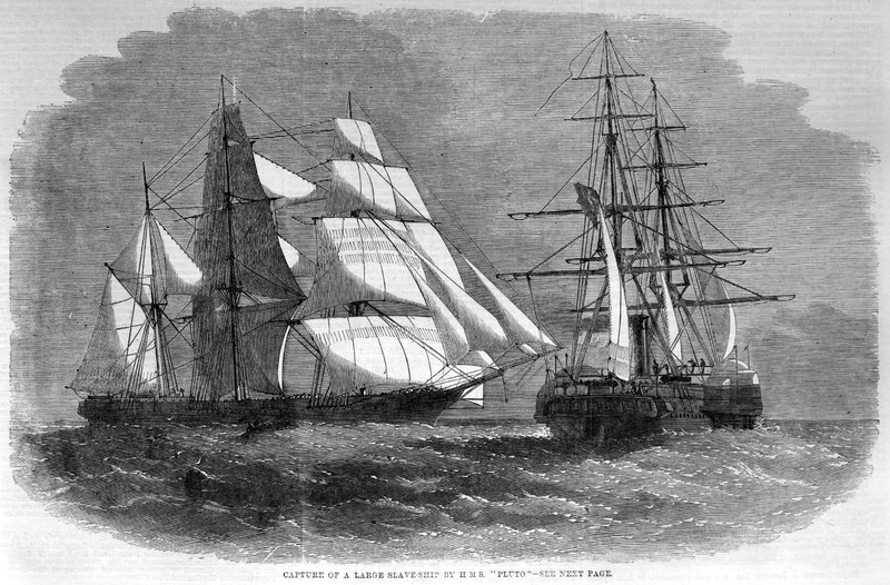 Caption, Capture of a Large Slave-Ship by the H.M.S. 'Pluto'. Shows a British naval vessel of the West African squadron capturing a large barque off an unnamed section of the west coast of Africa. The capture took place on Nov. 30, 1859. There were 847 slaves on board, the largest number of slaves ever taken in one vessel. . . . On seeing the naval officers look down the main hatch, the liberated slaves sent up a most hearty cheer, which can never be forgotten by those who heard it (p. 410). Although not mentioned in the ILN article, the captured slave ship was, in fact, the Orion, from New York. It took on slaves at Cabinda, went to St. Helena, and from there the Africans were probably trans-shipped to the British Americas as apprentices. (We thank David Eltis for this information.) For a detailed and informative account of another British ship in the West African squadron which deposited its prizes in St. Helena, see A. Pearson, Waterwitch: a warship, its voyage and its crew in the era of anti-slavery (Atlantic Studies, vol. 13 [2016], pp., 99