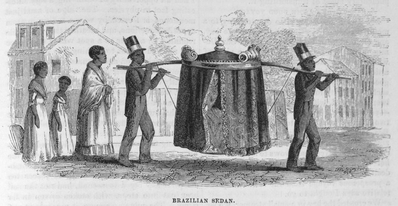 """This image depicts two formally attired enslaved males, followed by several females, carrying the palanquin of some dignitary in Brazil. The Brazilian scholar, Gilberto Freyre described how """"within their hammocks and palanquins the gentry permitted themselves to be carried about by Negroes for whole days at a time, some of them travelling in this manner from one plantation to another, while others employed this mode of transport in the streets; when acquaintances met, it was the custom to draw up alongside one another and hold a conversation"""" (see The Masters and the Slaves (New York, 1956), p. 409-410, 428)."""