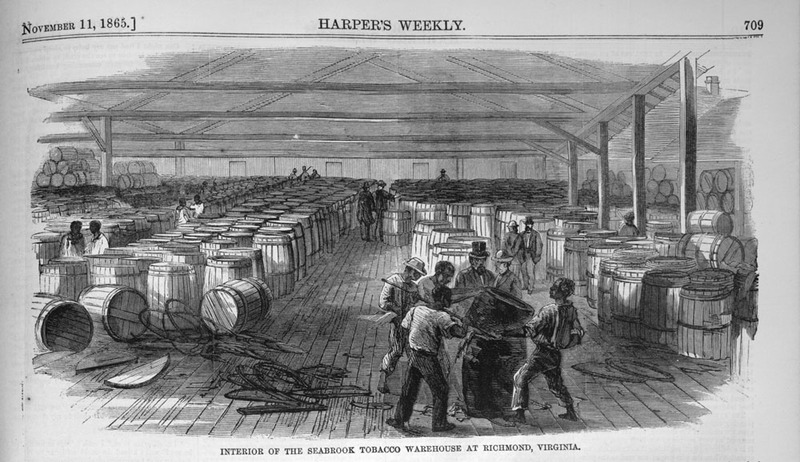 This engraving shows a number of men loading tobacco into barrels in a large warehouse in Richmond, Virginia. The Seabrook warehouse had about twenty-one laborers, all black, at a time when Virginia was the leading producer of tobacco in the United States. Harper's Weekly: A Journal of Civilization was an American political magazine based in New York City and published by Harper & Brothers from 1857 until 1916. It featured foreign and domestic news, fiction, essays on many subjects and humor, alongside illustrations. It covered the American Civil War extensively, including many illustrations of events from the war.
