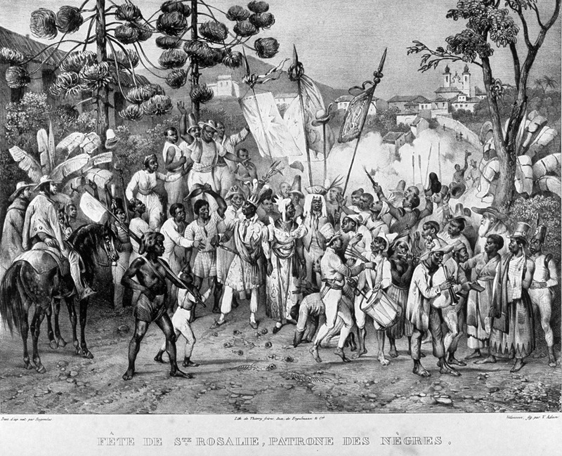 Caption, fete de ste. rosalie, patrone des negres (Festival of Our Lady of the Rosary, patron [saint] of the blacks); shows large group in procession, dancing, costumed; musical instruments. For an analysis of Rugendas' drawings, as these were informed by his anti-slavery views, see Robert W. Slenes, African Abrahams, Lucretias and Men of Sorrows: Allegory and Allusion in the Brazilian Anti-slavery Lithographs (1827-1835) of Johann Moritz Rugendas (Slavery & Abolition, vol. 23 [2002], pp. 147-168).