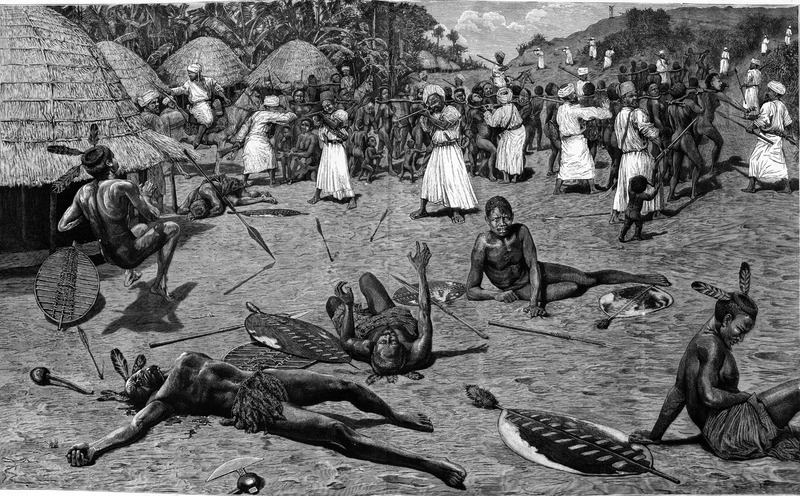 This image depicts Muslims raiding and kidnapping people in the East Central Africa region.