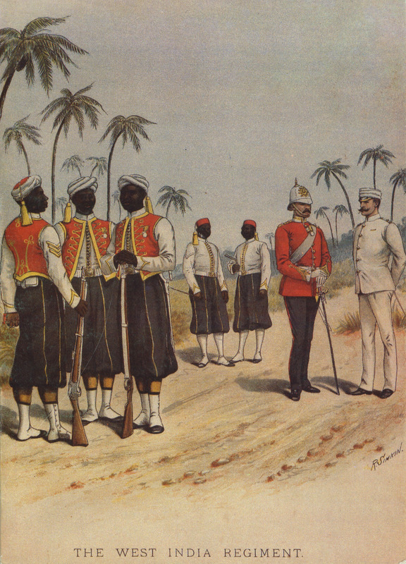 A colored print showing troops in their dress uniforms with white turbans, red coats, blue serge trousers, etc.; and white officers. These Zoave uniforms were adopted for the West India Regiments on the suggestion of Queen Victoria; they were based on the uniform worn by light infantry recruited for the French army in Algeria. In an early period, many of the black soldiers in the West India Regiments (first formed in the mid-1790s) were purchased or captured slaves, many African-born; later they included free people of color. For details, see Roger Buckley, Slaves in Red Coats: the British West India Regiments, 1795-1815 (Yale University Press, 1979). Black troops initially stationed in Barbados in the 1790s were purchased or captured slaves who primarily came from the French Caribbean territories; later, the British Army recruited these people in Barbados and by the early 1820s, free people of color in Barbados were also recruited to the 1st West India regiment. See also image reference pg372.