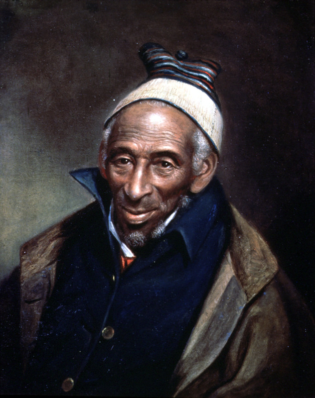 Yarrow Mamout (or, Mahmoud or Muhammad Yaro) was born in Africa around 1736 and was a teenager when enslaved and brought to America in 1752. He was a Fulani and probably came from the Futa Jallon region in the eastern part of today's Senegal and Guinea. Brought to Annapolis, Maryland, as a slave, he was manumitted in 1796 and lived in the Georgetown section of Washington D.C. where he was well known. A devout Muslim and hard worker, he was able to accumulate money and a house. He lived the rest of his life in Georgetown, where he died in 1823 at the age of about 88. Charles Willson Peale, the celebrated American artist, painted this oil portrait in 1819 when Yarrow Mamout was about 83 (not well over 100, as Peale erroneously assumed). Another, less polished, portrait was done by James Alexander Simpson in 1822; it is held by the Georgetown Branch of the District of Columbia Public Library (see Image mamout on this website). The most comprehensive account of Yarrow Mamout's life (and that of his descendants) is in James H. Johnston, From Slave Ship to Harvard: Yarrow Mamout and the history of an African American family (Fordham University Press, 2012). A slide of this painting was provided for this website by the Historical Society of Pennsylvania which formerly had the painting; today it is held by the Philadelphia Museum of Art.