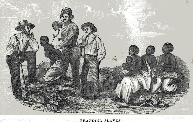 This print shows an enslaved woman being branded by a white man, while other African women were presumably waiting to be branded at an unknown location, likely in Africa. Blake used this illustration to depict the lengths to which slave traders would go in order to keep track of their merchandise. The same image is also found in later editions of Blake. In any case, this image is apparently not based on an eye-witness, but was fabricated by the artist. The illustration appears to be an embellishment of an earlier one in another source (see image H006 on this website; also, for details on branding).