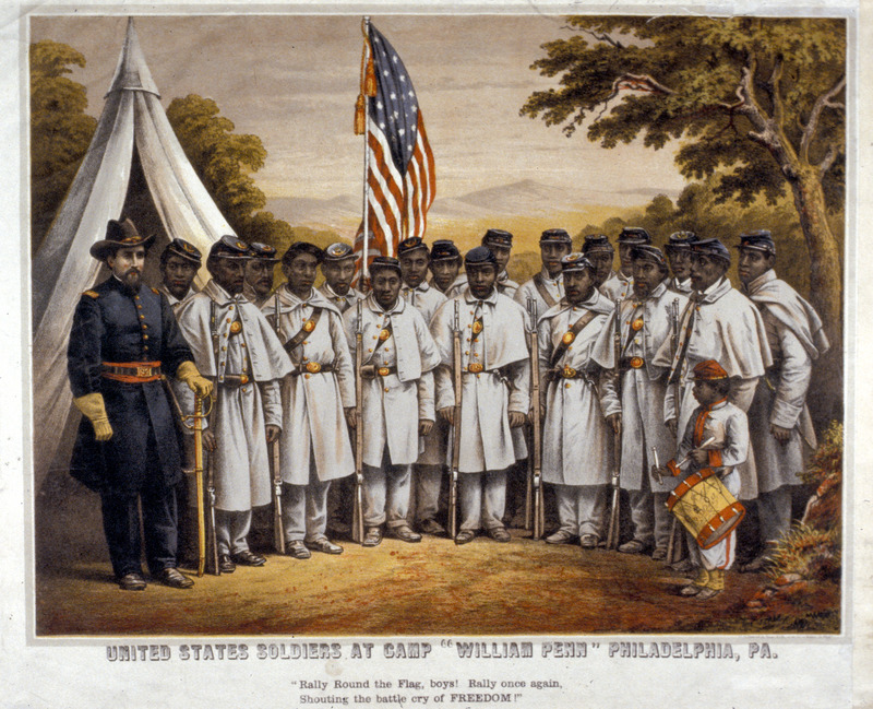 This recruitment poster shows Union soldiers at Camp William Penn in Philadelphia. By the spring of 1863 a committee of prominent Philadelphians was appointed to raise black regiments, and eleven were formed at Camp William Penn. This lithograph was based on a black and white studio photograph taken in Philadelphia, probably in early 1864; although no publication date is given on the lithograph it was probably done not long after the original photograph was taken. For details on this lithograph, its historical background, and the original photograph on which it is based (including its falsification by neo-Confederates), see the website <a href=http://blackunionsoldiers.org target=_blank>Retouching History: The Modern Falsification of a Civil War Photograph</a>. An identical lithograph, but with a different caption, is held by the Historical Society of Pennsylvania.