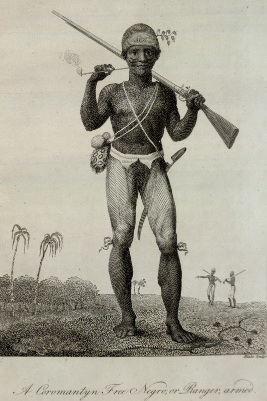 Caption, A Coromantyn Free Negro, or Ranger, Armed. This and other engravings are found in the autobiographical narrative of Stedman, a young Dutchman who joined a military force against rebellions of the enslaved in the Dutch colony. The engravings are based on Stedman's own drawings and were done by professional engravers. For the definitive modern edition of the original 1790 Stedman manuscript, which includes this and other illustrations, see Richard and Sally Price, eds., Narrative of a five years expedition against the revolted Negroes of Surinam (Baltimore: Johns Hopkins University Press, 1988). In his Narrative entry for Feb. 28, 1773, Stedman writes: The new raised corps of manumitted slaves, who . . . have proved to be of as much service to the colony, as all the others put together greatly owing to the strength of theyr constitutions, theyr wonderful activity, perseverance, etc.--these men were all volunteers, mostly stout, strapping able young fellows, picked from the different plantations--who received for them theyr full value in money . . . . they have . . . given astonishing proof of theyr fidelity to the Europeans and theyr valour against the revolters . . . . they are arm'd only with a firelock and sabre . . . they generally go naked by preference in the woods except trowsers and a scarlet cap on which is theyr number, and which . . . distinguishes them from the rebels in any action (quoted in Price and Price, p. 82).