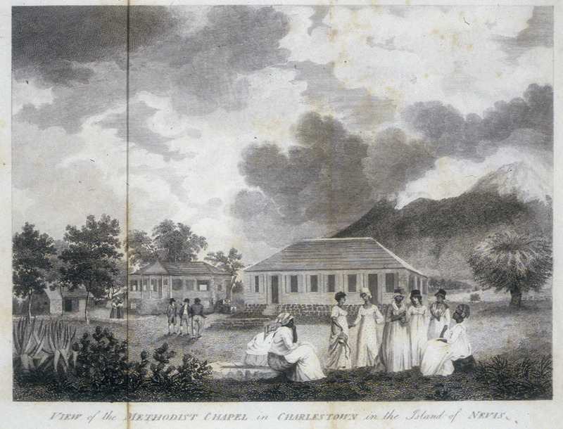 """The Methodist congregation in Nevis was established in the late 1780s or early 1790s. By 1802, """"it numbered 900 coloured people and blacks"""" (Coke, p. 27). The original structure of the chapel shown on the right was built around 1797. In the foreground are free women of color and slaves, apparently dressed for Sunday services. In the British Library copy, this illustration is found in vol. 2 (London,1810)."""
