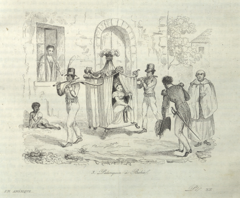 Urban scene in Bahia, showing servants/slaves carrying a white woman. The Brazilian scholar, Gilberto Freyre writes: Within their hammocks and palanquins the gentry permitted themselves to be carried about by Negroes for whole days at a time, some of them travelling in this manner from one plantation to another, while others employed this mode of transport in the streets; when acquaintenances met, it was the custom to draw up alongside one another and hold a conversation (The Masters and the Slaves [New York, 1956], pp. 409-410).