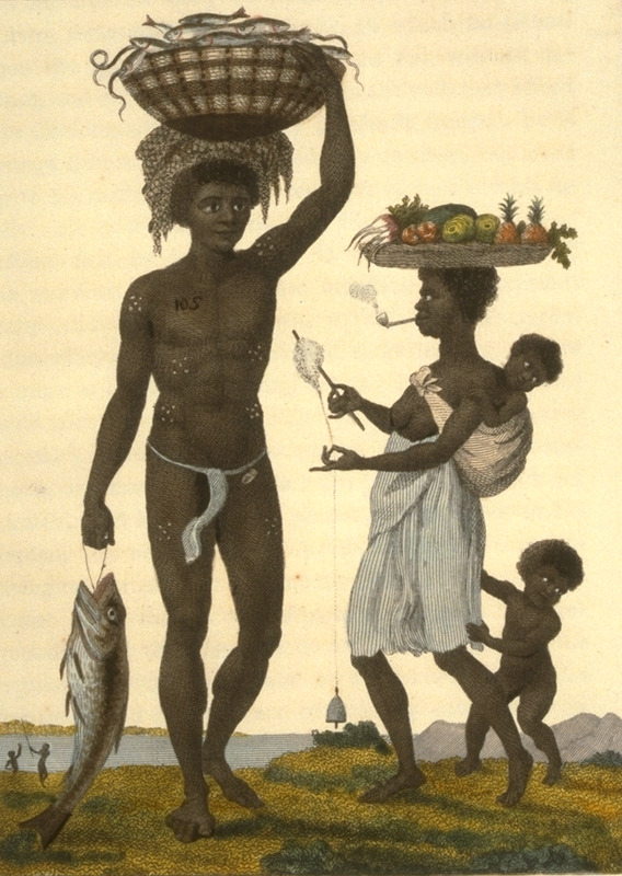 Caption, Family of Negro Slaves from Loango. The man is carrying a basket of small fish and a net on his head; his pregnant wife carries a basket of fruit with her infant on her back, while spinning cotton and smoking a tobacco pipe. The man is branded just below his right shoulder with the initials J.G.S., i.e., John Gabriel Stedman. This and other engravings are found in the autobiographical narrative of Stedman, a young Dutchman who joined a military force against rebellions of the enslaved in the Dutch colony. The engravings are based on Stedman's own drawings and were done by professional engravers. For the definitive modern edition of the original 1790 Stedman manuscript, which includes this and other illustrations, see Richard and Sally Price, eds. Narrative of a five years expedition against the revolted Negroes of Surinam (Baltimore: Johns Hopkins University Press, 1988).