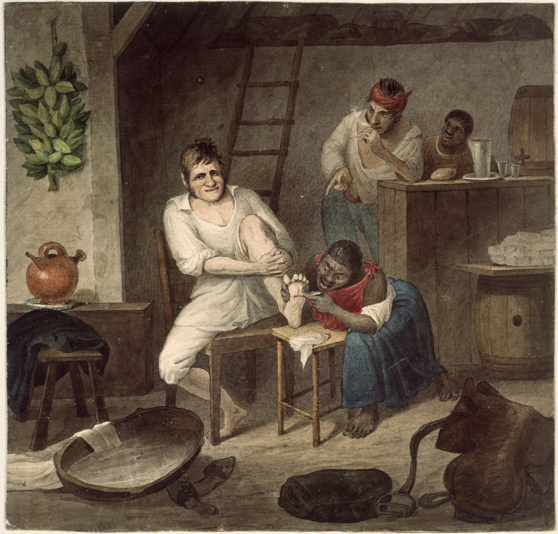 Water color on paper, the artist titled this drawing Extracting a jigger, scene in the Brazils. A black woman is shown extracting a chigger from the foot of a white man in what appears to be some sort of tavern; an earthenware pottery jug or jar (for water?) is in the left-hand corner. A tropical flea native to the Americas, the chigger (jigger, chigoe) was extremely troublesome to Europeans and Africans in many areas of the New World. Invading the skin through the feet or toes, they laid their eggs between the toes or under the nail, and if the egg sacs were not removed (by a simple technique); they could cause intense itching and pain. Chigger transmitted infections could result in festering sores and serious, sometimes incapacitating, lameness in the feet, and the chigger was often a pathfinder for tetanus and other infections. Earle, an English painter who travelled widely, lived in Rio from early 1820 to early 1824, with occasional trips to Chile and Peru during that period.