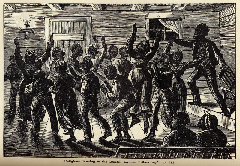 Caption, Religious dancing of the Blacks, termed 'Shouting'. Although dating from the post-emancipation period, this scene is evocative of the late slave period. Only a portion of the author's detailed description is given here: Just before they break up, when the 'spirit is upon them' . . . they engage in a kind of shaker dance, which they term singularly enough, shouting . . . . A ring of singers is formed in an open space in the room, and they, without holding on to each other's hands, walk slowly around and around in a circle . . . . They then utter a kind of melodious chant, which gradually increases in strength, and in noise, until it fairly shakes the house, and it can be heard for a long distance . . . . I know of nothing similar to this dancing or shouting, in the religious excercises of any other class of people. It is entirely unknown among the white Christians here (Stearns, pp. 371-72).