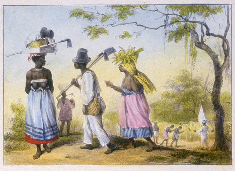 """Slaves going to work"" (caption translation). This engraving shows men and women in their work clothes, carrying long handled spades and hoes. A woman on the left is carrying a wood tray and basket on her head and smoking a pipe. In the background, slaves are cultivating a field under a slave driver's supervision. Pierre Jacques Benoit (1782-1854) was a Belgian artist, who visited the Dutch colony of Suriname on his own initiative for several months in 1831. He stayed in Paramaribo, but visited plantations, maroon communities and indigenous villages inland."