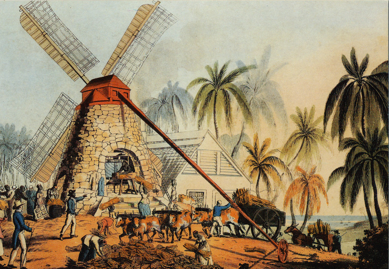 Original caption, A Mill Yard, on Gamble's Estate. Shows a windmill with its sails into the wind; canes being brought in ox carts, slaves heading cane loads into the mill rollers and stacking cane stalks. A black driver is shown at the base of the windmill, and the white owner/manager is overseeing the scene. Little is known of William Clark although he was probably a manager or overseer of plantations in Antigua. The ten prints in the collection (only 9 of which are shown on this website) are based on his drawings, converted into prints by professional printmakers. All of the prints are shown and extensively described in T. Barringer, G. Forrester, and B. Martinez-Ruiz, Art and Emancipation in Jamaica: Isaac Mendes Belisario and his Worlds (New Haven : Yale Center for British Art in association with Yale University Press, 2007), pp. 318-321; the descriptions in the Yale publication are based on Clark's unpaginated text