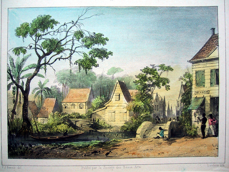 """""""View of Sarameca Street"""" (caption translation). This engraving shows houses in Paramaribo. The author described how """"Sarameca-Straat is where the most and best stores and shops of the colony are located. . . It is the general congregating place not only for foreigners, but also of all classes of locals"""" (p. 21). Pierre Jacques Benoit (1782-1854) was a Belgian artist, who visited the Dutch colony of Suriname on his own initiative for several months in 1831. He stayed in Paramaribo, but visited plantations, maroon communities and indigenous villages inland."""