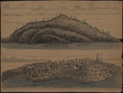 Ink, watercolor, pencil. In 1822, the American Colonization Society established the settlement at Cape Mesurado, later named Monrovia. Among other features, this drawing shows the rectangular houses of the settlers and the circular houses of the indigenous population (Bassa?); churches are also shown. The promontory on the right has a flagpole (another is on the left) and lighthouse. The latter is probably the first lighthouse at Cape Mesurado, erected in 1836. The drawing of Cape Mount does not display man-made features. Sources: Harry Johnston, Liberia (Dodd, Mead, 1906); Richard Hall, On Africís Shore (Baltimore, 2003). See other image references UVA on this site. For background to this and other UVA images, see image reference UVA01.