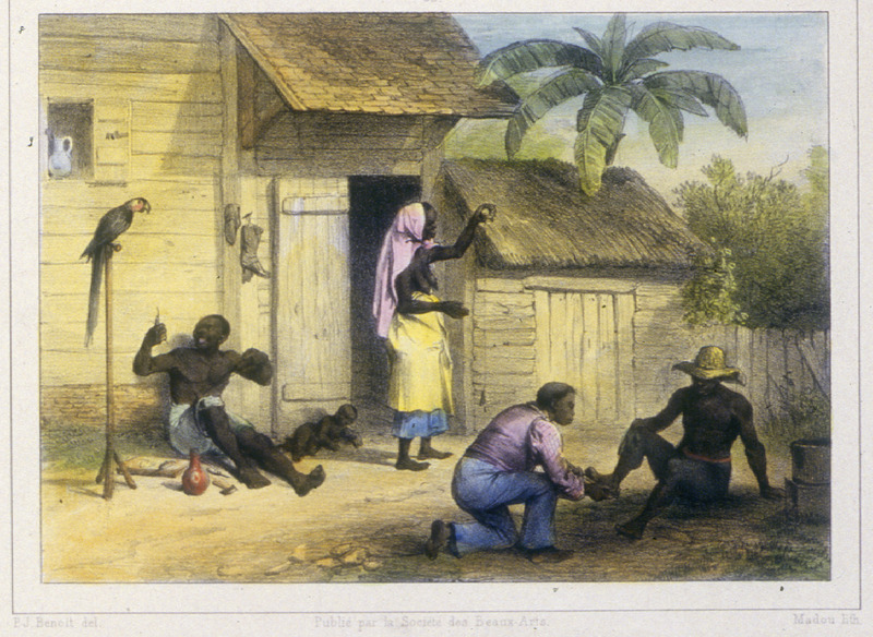 """""""Workshop of a Shoemaker"""" (caption translation). This engraving shows several people in front of a thatched-roof house and a shed. Benoit described how """"a shoemaker is measuring a free black man for a pair of shoes; the man on the left, a slave is making shoes. . . only free people of color have the right to wear shoes. . . [and in the center] an elderly woman spins cotton using a spindle"""" (p. 21). Pierre Jacques Benoit (1782-1854) was a Belgian artist, who visited the Dutch colony of Suriname on his own initiative for several months in 1831. He stayed in Paramaribo, but visited plantations, maroon communities and indigenous villages inland."""