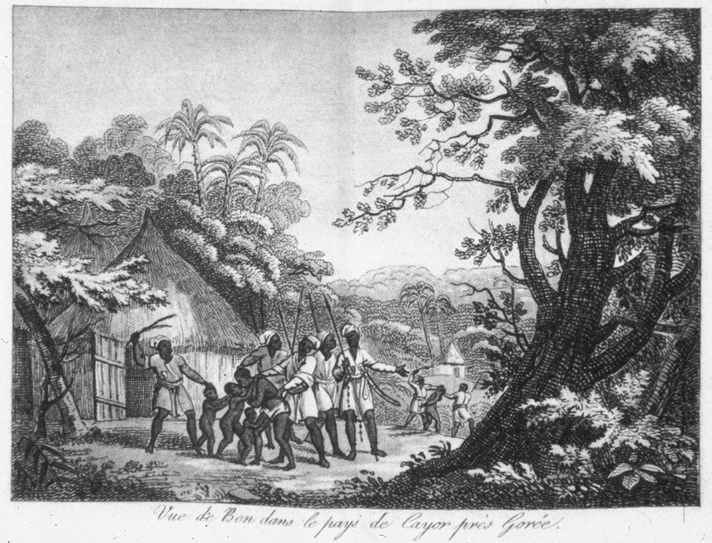 Caption, Vue de Ben dans le pays de Cayor pres de Gorèe, shows Africans being captured. Ben was a sea side village on the south side of the peninsula close to the Isle of Gorèe from where, Villeneuve observes, the embarkations are usually made for Gorèe. He doesn't specifically describe this illustration other than saying it depicts a scene that he witnessed, and that it shows one of those cruel scenes too frequently witnessed on the coast (p. 56).  Villeneuve lived in the Senegal region for about two years in the mid-to-late 1780s. The engravings in his book, he writes, were made from drawings that were mostly done on the spot during his African residence (vol. 1, pp. v-vi). The same illustration appears in color in the English translation of Villeneuve; see Frederic Shoberl (ed.), Africa; containing a description of the manners and customs, with some historical particulars of the Moors of the Zahara . . . (London, 1821), vol. 2, facing p. 68. This image is strikingly similar, if not identical, to an engraving published in London in 1789, which is captioned A view taken near Bain, on the coast of Guinea in Africa [sic] . . . dedicated to the feeling hearts in all civilized nations. For a color reproduction and description of this image, held by the National Maritime Museum (Greenwich, London), see and D. Hamilton and R. Blyth, Representing Slavery: Art, Artifacts and Archives in the Collections of the National Maritime Museum (London, 2007), pp. 126, 237.