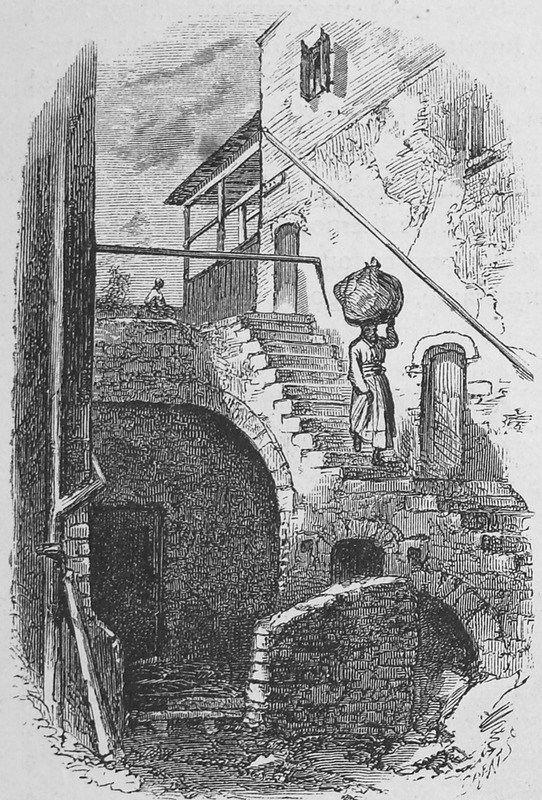 The woman is descending a staircase by the levee in Savannah; she carries a bundle on her head, a ubiquitous form of burden carrying throughout African America from the earliest times. It is not specified if the woman was a domestic servant. Original sketch made by J. Wells Chamney who accompanied the author during 1873 and the spring and summer of 1874.