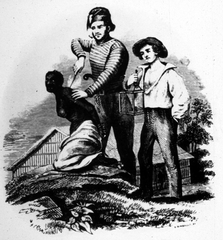 "This image shows two European men holding down and branding a black woman on the back. It is unclear if this illustration is intended to depict an activity on the African coast or in the New World. The image illustrates the account of Captain Canot (1804-1860), who was a French-Italian slave trader. Canot mostly traded between the Upper Guinea Coast and Cuba. With respect to branding, Canot/Conneau wrote in 1827 that ""a few days before the embarkation takes place the head of every male and female are shaven. They are then marked. . . with a hot pipe sufficiently heated to blister the skin. Some [purchasers] use their initials made of silver wir. . . this disagreeable operation is done only when several persons ship slaves in one vessel. . . [The branding] is done as lightly as possible, and just enough for the mark to remain only six months; when and if well done, it leaves the skin as smooth as ever. This scorching sign is generally made on the fleshy part of the arm to adults, to children on the posterior."" The British military officer, John Duncan, described branding of enslaved captives in Dahomey in the mid-1840s. He explained how ""the people were led onto the beach, before being placed aboard canoes that would take them to the waiting slave ships, and the gang on each [coffle] chain is in succession marched close to a fire previously kindled on the beach. Here marking-irons are heated, and when an iron is sufficiently hot, it is quickly dipped in palm-oil, in order to prevent its sticking to the flesh. It is then applied to the ribs or hip, and sometimes even to the breast. Each slave-dealer uses his own mark, so that when the vessel arrives at her destination, it is easily ascertained to whom those who died belonged"" (see Travels in Western Africa in 1845 & 1846 (London, 1847; reprinted London, 1968), vol. I, p. 143). This image is also published in Henry Howe (ed.), Life and Death on the Ocean [Cincinnati, 1856], p.526); William O. Blake, The History of Slavery and the Slave Trade (Columbus, Ohio, 1857), facing p. 97. Another version of this image is shown on the website of the Mary Evans Picture Library (London), with an attribution to The Pictorial Times (London), 9 August 1845.See also image Blake1."