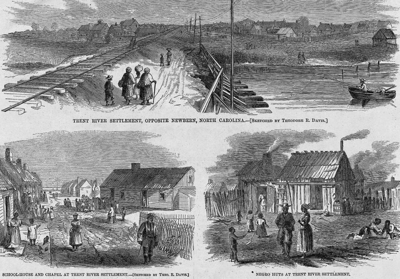 This series of three image shows cabins, school house, chapel and huts in North Carolina. Men, women, children were engaged in various activities, such as conversing, playing games, fishing from a boat in a river, carrying loads on heads. Harper's Weekly: A Journal of Civilization was an American political magazine based in New York City and published by Harper & Brothers from 1857 until 1916. It featured foreign and domestic news, fiction, essays on many subjects and humor, alongside illustrations. It covered the American Civil War extensively, including many illustrations of events from the war.