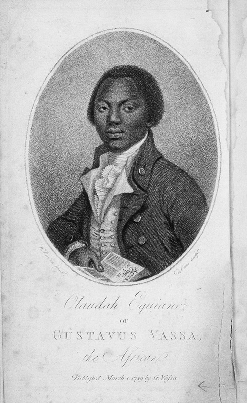 """This engraving shows the face and torso of Gustavus Vassa (c. 1745–1797), or Olaudah Equiano, holding a book. He was an abolitionist writer who claimed to be born in the Igbo-speaking area of the Bight of Biafra region. Kidnapped from his natal village in 1757 at about the age of 11 or 12, he was then transported to Barbados, where he briefly stayed - unsold - until he was taken to Virginia where he remained about a month. His new master, a British Naval officer, took him to London and gave him the name Gustavas Vassa, a name he preferred later in life. When in his mid-40s, he wrote his narrative """"to arouse in Britain's Parliament a sense of compassion for the miseries which the slave-trade has entailed on my unfortunate countrymen.""""  There is some debate among scholars if Vassa was actually born in Africa. See Vincent Carretta, ed., The Interesting Narrative and Other Writings, Olaudah Equiano (Penguin Books, 1995, rev. ed, 2003); and Paul E. Lovejoy, """"Olaudah Equiano or Gustavas Vassa-What's in a Name?"""" Atlantic Studies 9 (2012), p. 165-184)."""