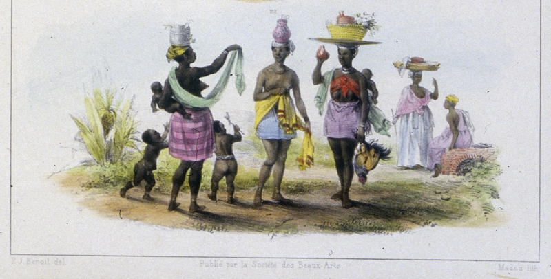 """On the Left a Cod or Salted Cod Merchant; On the Right, a Vegetable Merchant; in the Center, a Young Creole Milkmaid, in the Back, a Retailer"" (caption translation). This image depicts various women identified in the image title dressed in different clothing styles. Pierre Jacques Benoit (1782-1854) was a Belgian artist, who visited the Dutch colony of Suriname on his own initiative for several months in 1831. He stayed in Paramaribo, but visited plantations, maroon communities and indigenous villages inland."
