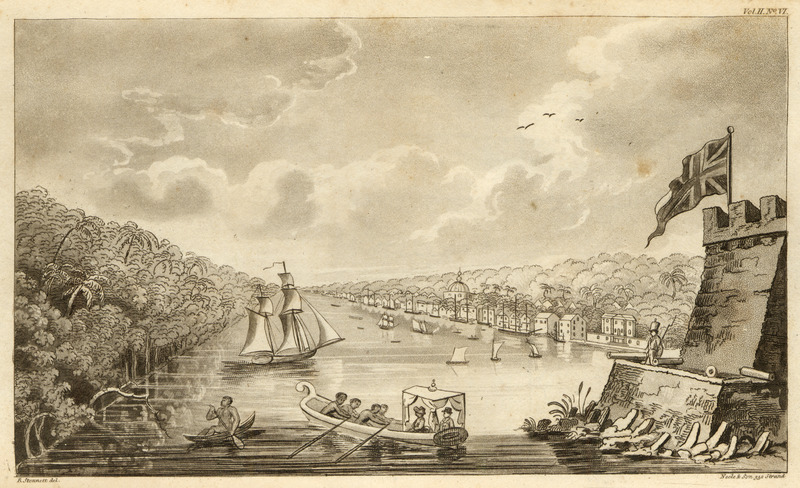 In foreground, slaves are rowing European visitors ashore from sailing vessel; another African (on left) is paddling a canoe. Waller, a surgeon in the British Navy, landed in Paramaribo in July 1808. As his ship approached the city, the Surinam river becomes more and more interesting. The right bank ascending, appears covered with cultivated grounds and villas; the Dutch and the English too have spared neither pains nor expense to render their habitations delightful. These villas are principally the country residences of the citizens.