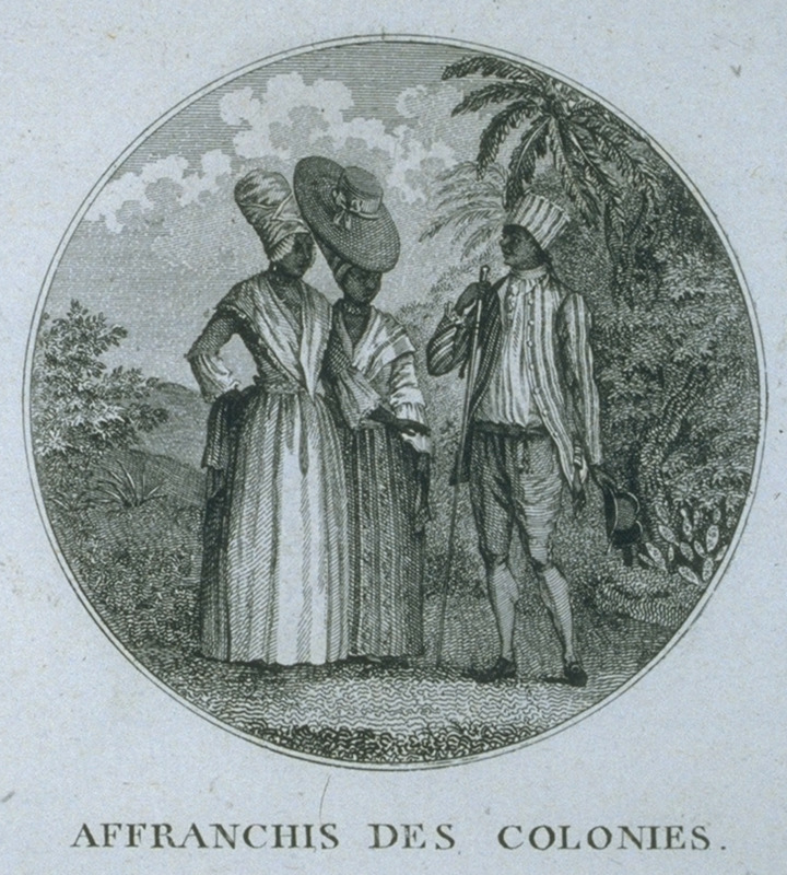 A man and two women in formal attire. Engraving by Ponce for Moreau de Saint Mery, Loix et Constitution des Colonies Francais (Paris, 1784, 1790). This image is reversed from the original Brunias print, titled Free Natives of Dominica (not shown on this website; a copy is held by the Barbados Museum), one edition of which was published in London in 1790. The engraving, in turn, is derived from the Brunias painting, Free Natives of Dominica, ca. 1770; for a b/w photo of this painting, see Malcolm Cormack, A Concise Catalogue of Paintings in the Yale Center for British Art (New Haven, 1985, pp. 44-45). For biographical details on Brunias, see image NW0016.