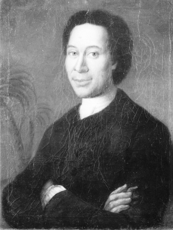 Detail of oil painting (courtesy of Jon Sensbach), held by the Moravian Archives (Unity Archives [Archiv der Bruder-Unitat]), Herrnhut, Germany.) Born on the Gold Coast of a Danish father and African mother, Protten was educated in Denmark and joined the Moravian church in 1735; he returned to the Gold Coast as a preacher for the next few decades. For details, see Jon Sensbach, A Separate Canaan (Univ. of North Carolina Press, 1998), pp. 39-40, and Rebecca's Revival (Harvard Univ. Press, 2005), passim; see also image reference Sensbach4.