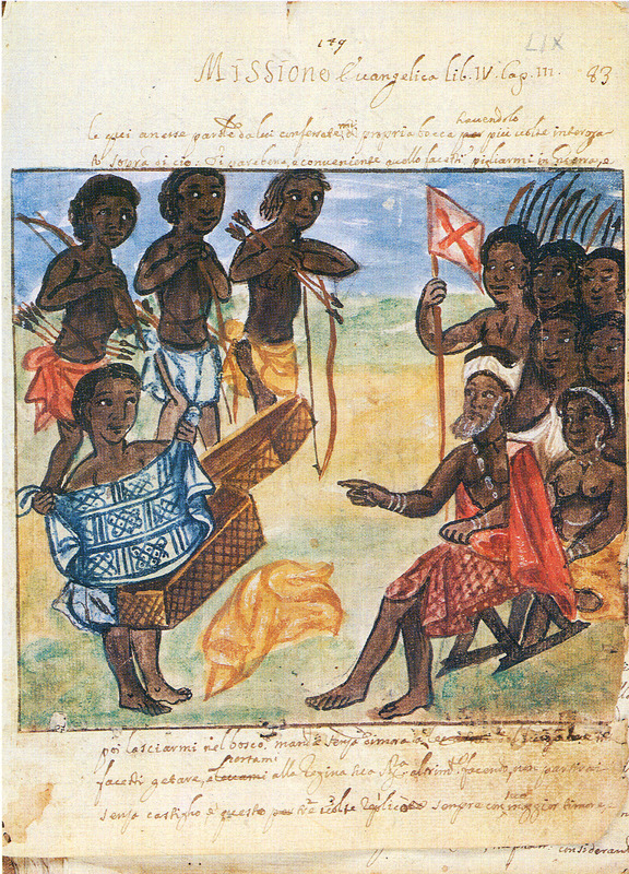 This painting shows cloth made from some vegetable fiber perhaps from raffia or palms, likely to a nobleman in the Kwanza North region. Soldiers with bows and arrows in the background. Antonio Cavazzi (b. 1621) was an Italian priest who from 1654 to 1667 joined the Capuchin mission in what is today northern Angola; after a visit to Europe, he returned to the Kingdom of Kongo, where he remained from 1672 to 1677. He died in Genoa in 1678. Cavazzi made this and other watercolors, the originals of which are in his manuscript, held in a private collection in Modena, Italy (see also Cavazzi for other images on this website). Bassani reproduces the full set of 33 watercolors of which only 8 are reproduced on this website. A microfilm copy of the manuscript is held by the Special Collections Department, University of Virginia Library. Cavazzi's drawings must be among the earliest known eyewitness sketches of African life by a European; they can be contrasted to, for example, the fanciful depictions found in Dapper or by the De Bry brothers (see Dapper and De Bry on this website). Thanks to Joseph Miller for his assistance in interpreting this image.