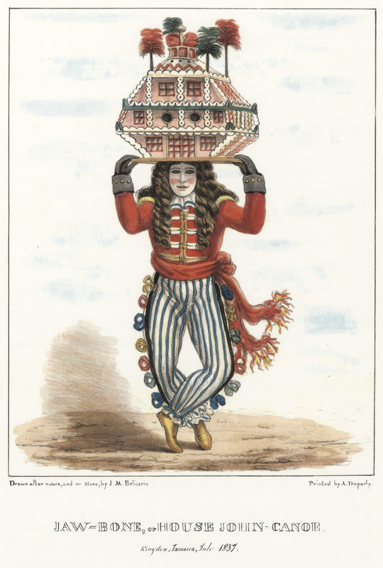 "This lithograph shows a man in a redcoat, white mask, a long-haired wig and carrying a model house on his head. Belisario described that this ""is the most conspicuous of those who annually attract public notice."" His pseudo military dress-style was ""in common with the whole John Canoe fraternity."" He was always masked ""with a profusion of dark hair, which is suffered to fall in large wild ringlets over his face and shoulders, giving his appearance an extraordinary and savage air. . . The house [on his head] is usually constructed of pasteboard and coloured papers — it is also frequently highly ornamented with beads, tinsel, spangles, pieces of looking glass, etc. etc. and being firmly fixed on a board, the bearer is enabled to balance it whilst going through many. . . contortions of body and limbs miscalled dancing."" Isaac Mendes Belisario (1795–1849) was a Jamaican artist of Jewish descent and active in Kingston Jamaica around British emancipation in 1833. The image shown here, as well as others of ""John-Canoes,"" was drawn from life by Belisario in 1836. This lithograph is one of twelve originally published in three parts, four plates at a time."