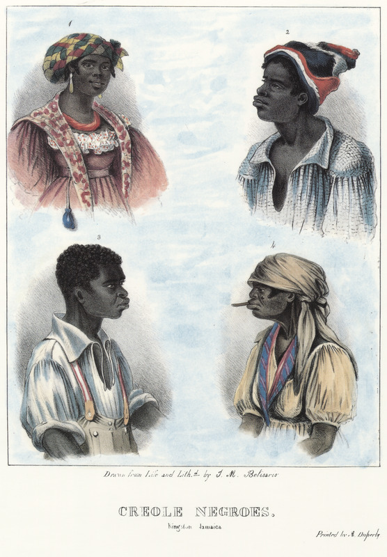 "This lithograph shows four portraits of enslaved people. Belisario described how ""the woman (upper left) represents a vender of sausages about the streets, and is selected as an example of the inconsistency frequently observable in the Negro-class, who, while they are engaged in the meanest occupation, are still attentive to the adornment of their person. The woman is shown with an elaborate head-tie, jewelry, and a small blue purse dangling from her waist. In the upper right, the man is wearing the ordinary costume of the field worker. His Kilmarnock cap, a coarse black hat is also worn; these added to a blue checked shirt, Oznaburgh trowsers, and contoon, or cloak made of dark blue woolen-cloth called Pennistone, complete the ordinary costume. The man on the lower left is also a field-Negro, shown with similar clothing. The older woman (lower right) wears a head-tie and has chew-stick (sometimes, chaw-stick). The pearly whiteness of teeth so universal with the Negroes is in a great measure produced by the constant use of a withe, called chew-stick, which they cut into small pieces, and employ as a tooth-brush. . . it has a bitter juice, of a powerfully detergent quality."" Isaac Mendes Belisario (1795–1849) was a Jamaican artist of Jewish descent and active in Kingston Jamaica around British emancipation in 1833. The image shown here, as well as others of ""John-Canoes,"" was drawn from life by Belisario in 1836. This lithograph is one of twelve originally published in three parts, four plates at a time."