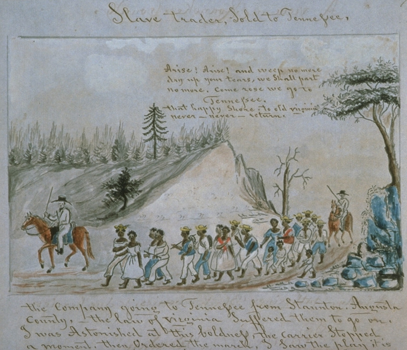 Titled, Slave trader, Sold to Tennessee, this water color shows a group of about 20 men, women, and children, being marched from Staunton, in Augusta county, Virginia to Tennessee; guarding the group are two white men on horseback. In the caption underneath (only partially shown here), Miller writes  The company going to Tennessee from Staunton, Augusta county, the law of Virginia suffered them to go on. I was astonished at this boldness, the carrier stopped a moment, then ordered the march, I saw the play it is commonly in this state, when the negroís in droves Sold.