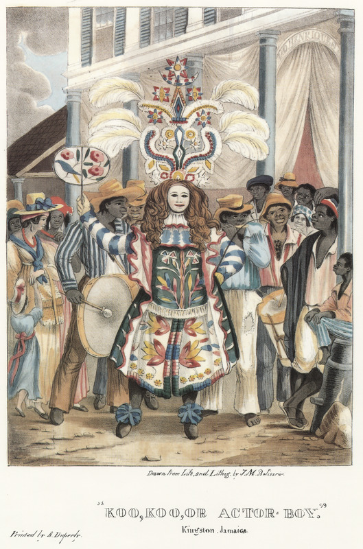 """This lithograph shows an elaborately costumed and masked male dancer surrounded by on-lookers and musicians. Belisario described how """"he carries a whip and fan, the former used for clearing his path, the latter for cooling himself when his mask is lifted. . . the band consists of drums and fifes only, to which music the Actor stalks most majestically, oftentimes stopping to afford the by-standers a fair opportunity of gazing at him. . . The foundation [of his headdress] is an old hat, affording the wearer the means of sustaining the superstructure, to which it is firmly attached, and composed of various colored beads, bugles, spangles, pieces of looking-glass, tinsel, etc. attached to a pasteboard form trimmed round the edges with silver lace, surmounted with feathers. The garments are of muslin, silk, satin, and ribbons."""" Isaac Mendes Belisario (1795–1849) was a Jamaican artist of Jewish descent and active in Kingston Jamaica around British emancipation in 1833. The image shown here, as well as others of """"John-Canoes,"""" was drawn from life by Belisario in 1836. This lithograph is one of twelve originally published in three parts, four plates at a time. See also image Belisario03."""