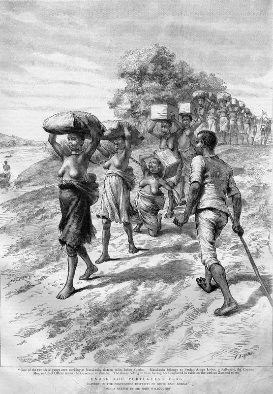 """Based on a sketch by Sir John Willoughby and engraved by G. Durand, this image depicts a slave coffle in the Portuguese districts of Southeastern Africa. Accompanies an article of the same title, the first of three articles dealing with slavery in this area. In November 1891, Willoughby visited a region up to 500 miles inland from the coast. He witnessed """"scenes of violence and oppression. On one occasion, he saw """"two gangs of slaves, each consisting of of a dozen women, mostly with little children on their backs, and all chained together by means of heavy lengths of chains attached to iron rings round their necks"""" (p. 275). Also cited in Daniel Mannix, Black Cargoes (New York, 1962), after p. 146, but he gives a misleading caption and erroneously dates this engraving to the 1870s."""